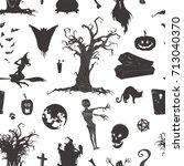 halloween magic collection ... | Shutterstock .eps vector #713040370