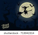 witch on a broomstick ... | Shutterstock .eps vector #713042314