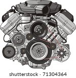 engine of internal combustion... | Shutterstock .eps vector #71304364