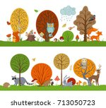 vector forest set with autumn... | Shutterstock .eps vector #713050723