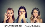 keep a secret be quiet concept. ... | Shutterstock . vector #713052688