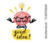 cute cartoon smart brain with... | Shutterstock .eps vector #713053660