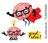 cute cartoon smart brain with... | Shutterstock .eps vector #713053684