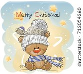 greeting christmas card with... | Shutterstock .eps vector #713054260
