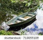 boat on the pond. park landscape | Shutterstock . vector #713055109