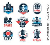 exploration space logo set ... | Shutterstock .eps vector #713057470
