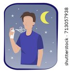 man in casual wear are spraying ... | Shutterstock .eps vector #713057938
