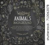 vector chalk woodland... | Shutterstock .eps vector #713062078
