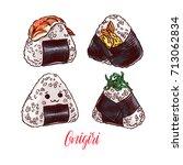 asian food. cute set of... | Shutterstock .eps vector #713062834