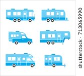 blue auto rvs  camper cars  ... | Shutterstock .eps vector #713065990