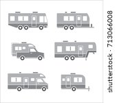 grey auto rvs  camper cars  ... | Shutterstock .eps vector #713066008
