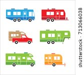 auto rvs  camper cars   vans ... | Shutterstock .eps vector #713066038