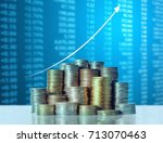 investment concept  coins graph ... | Shutterstock . vector #713070463