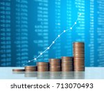 investment concept  coins graph ... | Shutterstock . vector #713070493