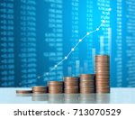 investment concept  coins graph ... | Shutterstock . vector #713070529