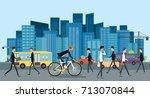 flat businessman biking on the... | Shutterstock .eps vector #713070844