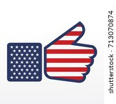thumb up symbol with usa flag... | Shutterstock .eps vector #713070874