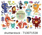 cute forest animals on a white... | Shutterstock .eps vector #713071528