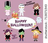 halloween costumed children | Shutterstock .eps vector #713071543