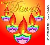 happy diwali vector art... | Shutterstock .eps vector #713072308