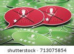 3d illustration of many speech... | Shutterstock . vector #713075854