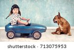 little boy and cute dog playing ... | Shutterstock . vector #713075953