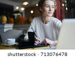 thoughtful talented autor...   Shutterstock . vector #713076478