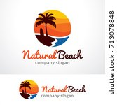 natural beach logo template... | Shutterstock .eps vector #713078848