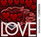 burning hearts illustration... | Shutterstock . vector #713080306