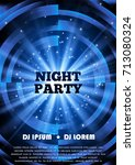 blue party club flyer. vector... | Shutterstock .eps vector #713080324