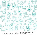 cute seamless monster doodle... | Shutterstock .eps vector #713082010