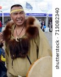 """Small photo of MOSCOW, RUSSIA - AUGUST 26, 2017:Head of the ethnic ensemble """"Nomad"""" Yevgeny Kaipanau."""