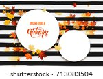 white blank with autumn maple... | Shutterstock .eps vector #713083504