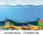 sea scene ocean oceanic  ... | Shutterstock .eps vector #713084728
