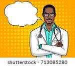 vector portrait of a doctor... | Shutterstock .eps vector #713085280