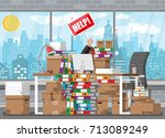 stressed businessman in pile of ... | Shutterstock .eps vector #713089249