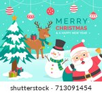 cute cartoon snowman and... | Shutterstock .eps vector #713091454