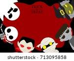 halloween cute cartoon... | Shutterstock .eps vector #713095858