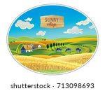 rural landscape in the frame  a ... | Shutterstock .eps vector #713098693