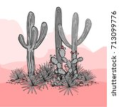 cacti group. prickly pear... | Shutterstock .eps vector #713099776