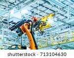 modern car production line  is... | Shutterstock . vector #713104630