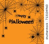 happy halloween spider web and... | Shutterstock .eps vector #713104960