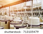 rolls of industrial cotton... | Shutterstock . vector #713105479