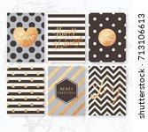 modern creative christmas cards ... | Shutterstock .eps vector #713106613