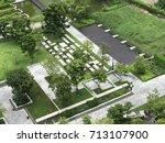 bird eyes view of public garden ...   Shutterstock . vector #713107900