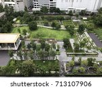 bird eyes view of public garden ...   Shutterstock . vector #713107906