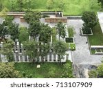 bird eyes view of public garden ...   Shutterstock . vector #713107909