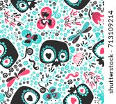 beautiful seamless pattern with ... | Shutterstock .eps vector #713109214
