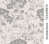 vintage vector seamless pattern of illustrated woodland wild animals in the forest | Shutterstock vector #713109874