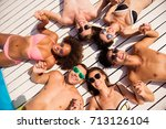 diverse chilling fashionable...   Shutterstock . vector #713126104